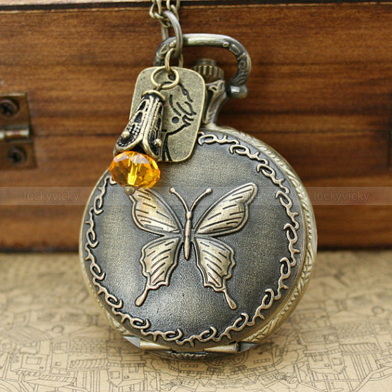 Vintage pocket watch necklace with antique bronze butterfly locket,beautiful girl and crystal charm