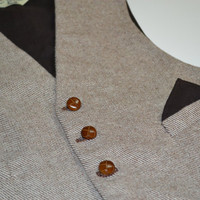 Mens Vest, in wool tweed, 100% cotton lined , formal wear, 40R, four functional welt pockets, handmade in USA To Have and to Hold