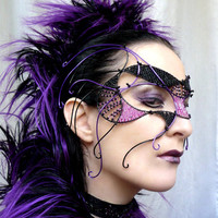 Cyber goth masquerade mask, handmade