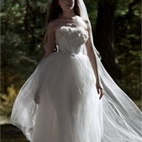 Tea-length strapless tulle wedding dresses PWD173