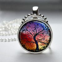 Round Glass Bezel Pendant Tree Pendant Tree Necklace Photo Pendant Art Pendant With Silver Ball Chain (A3157)