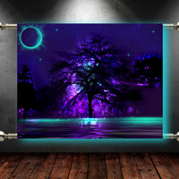 "Wall Tapestry Art ""In the Mist"" Trees Water Lake Night Fantasy Tapestry"