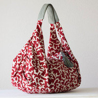 Kallia bag in floral red cotton and Grey leather details