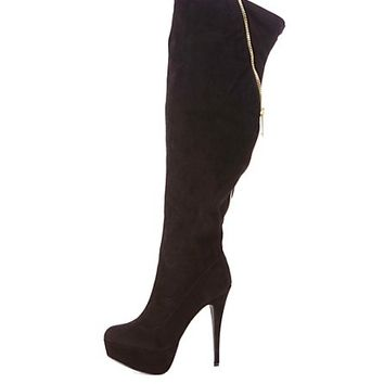 Back Zipper Platform Over-the-Knee Boots by Charlotte Russe - Black