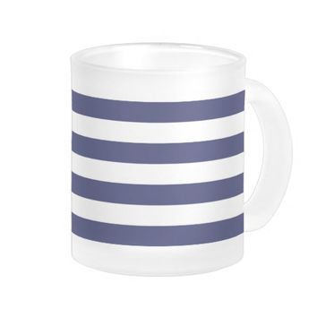 Nautical Navy Blue and White Stripes Frosted Glass Mug