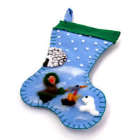 Handmade felt Christmas Stocking with eskimo and igloo