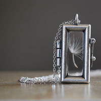 Dandelion Seed Necklace Rectangular Glass Locket