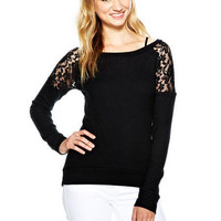 Super-Soft Lace Inset Long-Sleeve Top