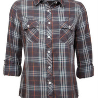 Grey Plaid Button-Down Shirt