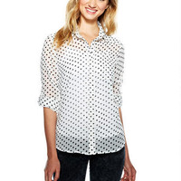 Polka Dot Chiffon Button-Down Shirt