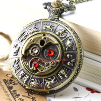 ON SALE Steampunk Constellation Pocket watch Locket Necklace, SWAROVSKI crystals mechanical pattern