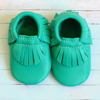 Emerald Green Leather Baby Moccasins