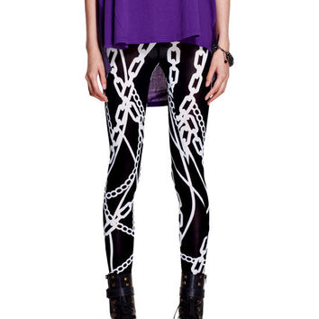 Chain Print Stretch Skinny Leggings