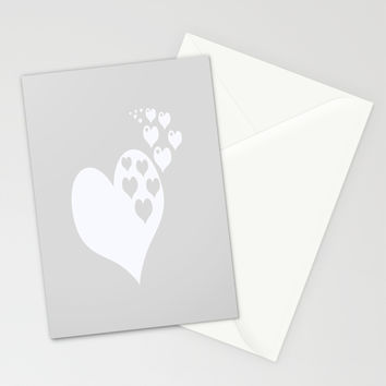Gray White Hearts of Love Stationery Cards by BeautifulHomes