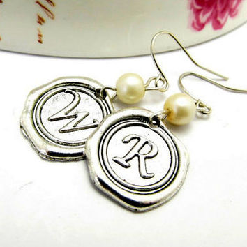 Personalized Earrings, Stamped Wax Seal Earrings, Initial Monogram Earrings, Letter Earrings, Silver Initial Earrings, Customized Earrings