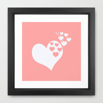 Coral White Hearts of Love Framed Art Print by BeautifulHomes