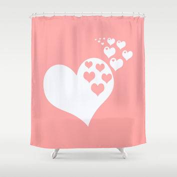 Coral White Hearts of Love Shower Curtain by BeautifulHomes