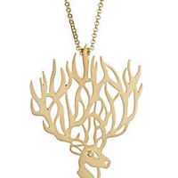Agrigento Deer Pendant Necklace in Gold - Max and Chloe