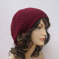 CIJ Sale 15% Off - Wine Slouchy Crochet Hat - Womens Slouch Beanie - Burgundy Oversized Cap - christmasinjuly Christmas In July