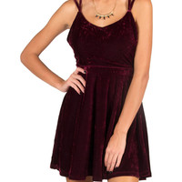 Strappy Velvet Dress - Wine - Wine /