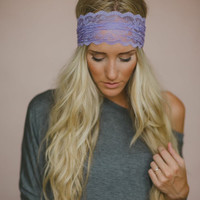Lace Headband, Sheer Lace, Women's Hair Bands, Periwinkle, Fashion Accessories, Cute Headband, Scalloped, Headband in Lavender (HB-4011)