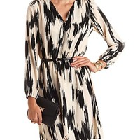 ABSTRACT PRINT LONG SLEEVE BELTED WRAP DRESS