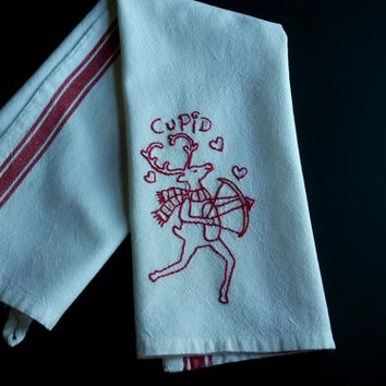Kitchen tea towel,embroidered dishtowel, embroidered tea towel, Christmas tea towel, Christmas embroidery,Cupid Reindeer