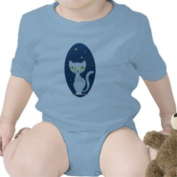 Cute cat night cartoon customizable Infant creeper