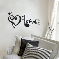 "Music Notes Spelling Love Wall Decal Vinyl Art Sticker 10.5""h X 20""w"