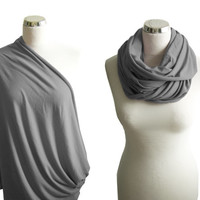 Grey Nursing Sarf, Nursing Cover, Nursing Infinity Scarf,  Breastfeeding Cover