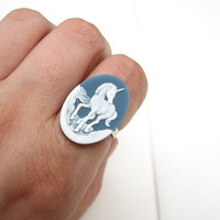 unicorn ring - slate blue &amp; white