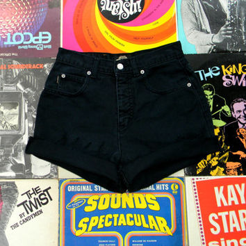 High Waisted Denim Shorts - 90s Black Jean Shorts - High Waist, Frayed, Rolled Up, Cuffed Denim Shorts by Capezio Jeans Size 2 XS