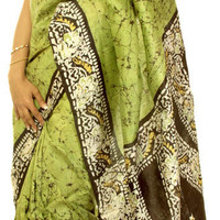 Green and Black Batik Sari from Kolkata