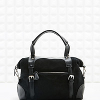 Deena & Ozzy Suede Front Shopper in Black - Urban Outfitters