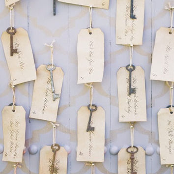 Rustic Skeleton Key Seating Chart Wedding Escort Seating tags