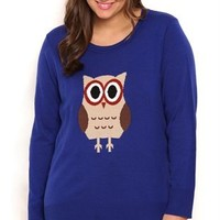 Plus Size Long Sleeve Owl Pullover Sweater