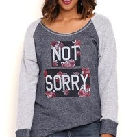 Plus Size Long Sleeve French Terry Raglan Top with Floral Not Sorry