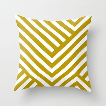 Gold Stripes Throw Pillow by Liv B