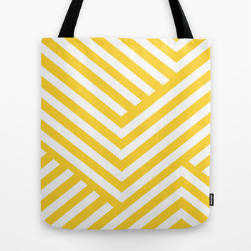Yellow and White Stripes Tote Bag by Liv B