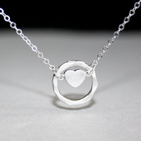 Heart Necklace Silver Heart and Hammered Circle, Sterling Silver chain available