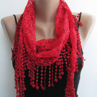 15% SALE Lace scarf, red summer scarf, handmade scarf