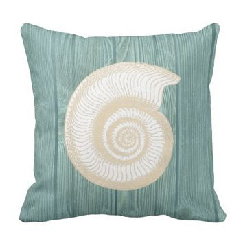 Seashell Vintage Aqua Wood Pillow