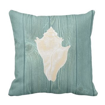 Seashell Cream Vintage Aqua Wood Pillow