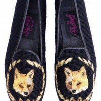 Fox on Black Needlepoint Loafer