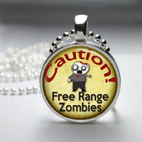 Round Glass Pendant Bezel Pendant Caution Free Range Zombies Area Pendant Zombie Necklace Photo Pendant Art Pendant With Ball Chain (A3493)