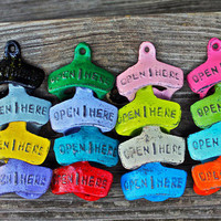 "Colorful ""OPEN HERE"" Bottle Opener: PICK your Color /Vintage, Retro Feel /Kitchen, Man-cave, Game Room, Patio, Hangout / Metal Wall Decor"