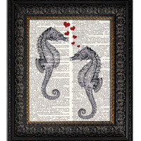 SEAHORSE LOVE  dictionary art  book page art print on upcycled recycled vintage dictionary page