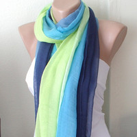Hand Dyed blue, green dark blue tones  Long Scarf, Pareo, Shawl with wrinkle