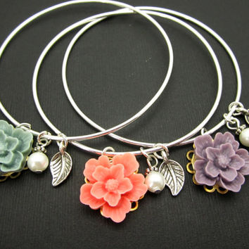 Floral Bangles Bracelets, Sterling Silver Stackable Bangles, LoVE Friendship Bridesmaid, Mother Gift,Weddings, Graduations, Stacking Bangles