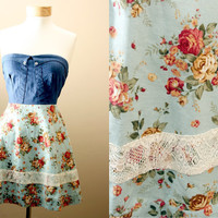 LAST ONE 40off // Floral, Lace, Strapless, Sundress, with Denim, Corset, Style Bodice
